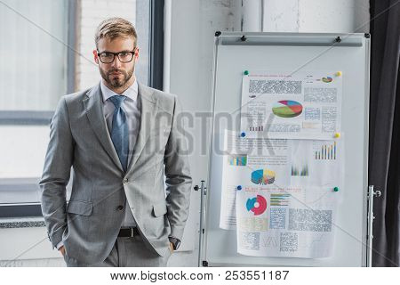 Handsome Young Businessman In Suit And Eyeglasses Standing With Hands In Pockets And Looking At Came