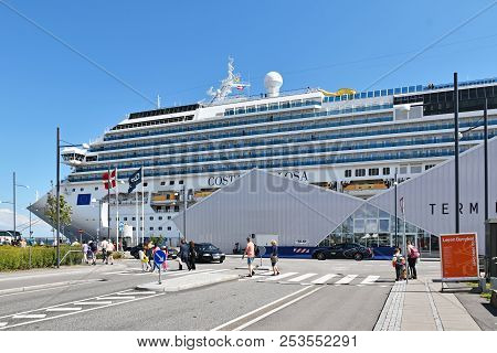 Copenhagen, Denmark - July 15, 2017: The Cruise Ship Costa Favolosa Of The Shipping Company Costa Cr