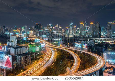 Night Of The Metropolitan Bangkok City Downtown Cityscape Urban Skyline  Thailand In December 2017 -