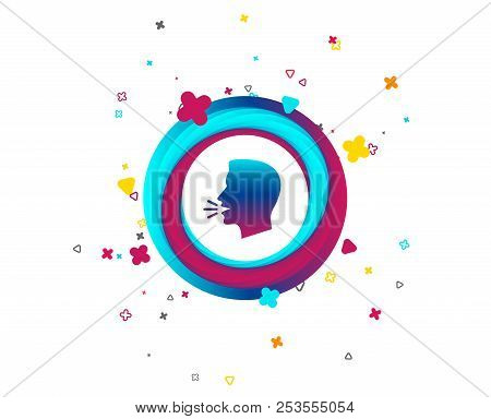 Talk Or Speak Icon. Loud Noise Symbol. Human Talking Sign. Colorful Button With Icon. Geometric Elem