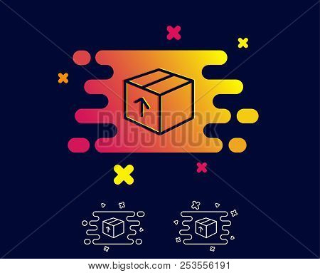 Delivery Box Line Icon. Logistics Shipping Sign. Parcels Tracking Symbol. Gradient Banner With Line