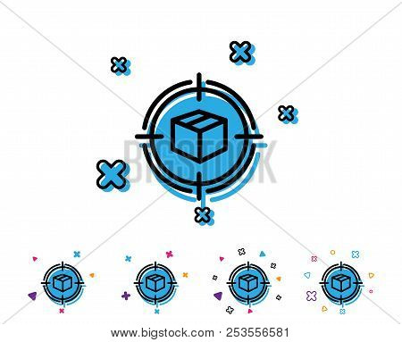 Parcel Tracking Line Icon. Delivery Monitoring Sign. Shipping Box In Target Symbol. Line Icon With G