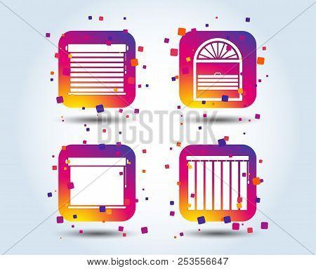 Louvers Icons. Plisse, Rolls, Vertical And Horizontal. Window Blinds Or Jalousie Symbols. Colour Gra