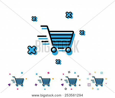Delivery Service Line Icon. Shopping Cart Sign. Express Online Buying. Supermarket Basket Symbol. Li