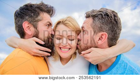 Lady Enjoy Romantic Relations Both Admirers. Men Fall In Love With Same Woman. She Likes Male Attent