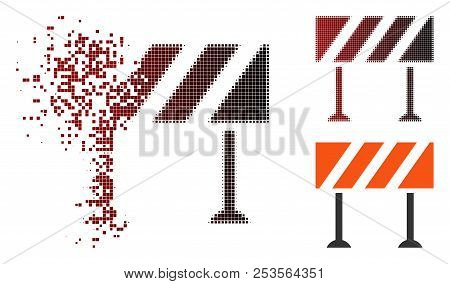 Vector Barrier Icon In Dispersed, Dotted Halftone And Undamaged Solid Versions. Disappearing Effect