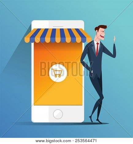 Concept Of E-commerce Online Shopping - Business Man Holding Mobile Phone And Shopping Online. Busin