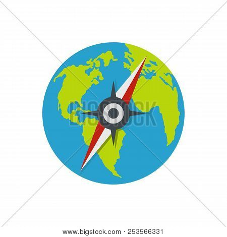 Compass On Earth Icon. Flat Illustration Of Compass On Earth  Icon Isolated On White Background