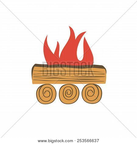 Bonfire Icon Isolated. Cartoon Minimal Style. Base Camp Fire Wood Logs Burning In Flame Isolated On