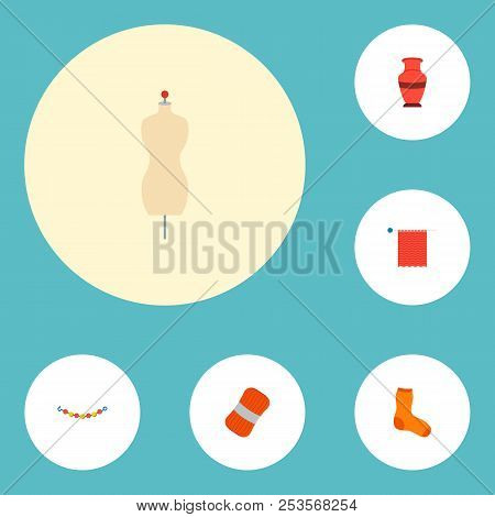 Set of handcraft icons flat style symbols with skein, knit needle, hosiery and other icons for your web mobile app logo design. poster