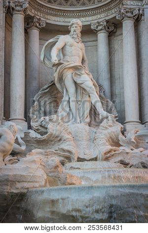 Statues Of Trevi Fountain, Rome, Italy, Sunny Day