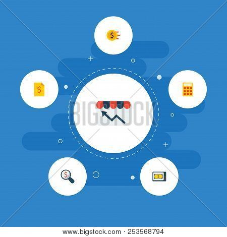 Set Of Finance Icons Flat Style Symbols With Finance News, Store Statistics, Financial Research And
