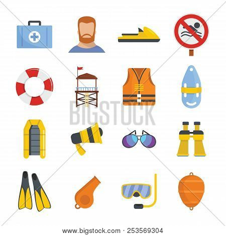 Lifeguard Save Icons Set. Flat Illustration Of 16 Lifeguard Save Icons For Web