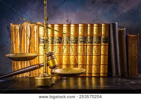 Law And Justice Concept - Law Gavel And Scale With Row Of Books, Retro Toned