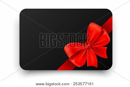 Blank Black Gift Card With Realistic Red Bow. Certificate, Coupon, Flyer, Discount Card Template Des