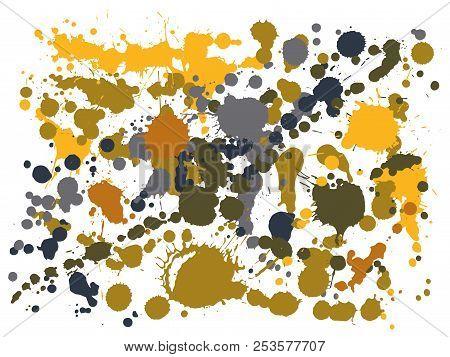 Gouache Paint Stains Grunge Background Vector. Scribble Ink Splatter, Spray Blots, Mud Spot Elements