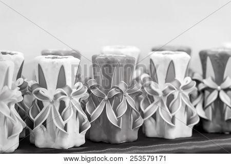 Decor, Design, Craft, Decoration Shop. Candles On Shelf In Decoration Shop. Wick, Paraffin Or Wax Od