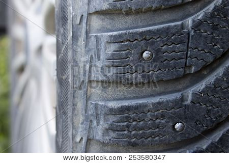 Protector on winter studded rubber close up poster