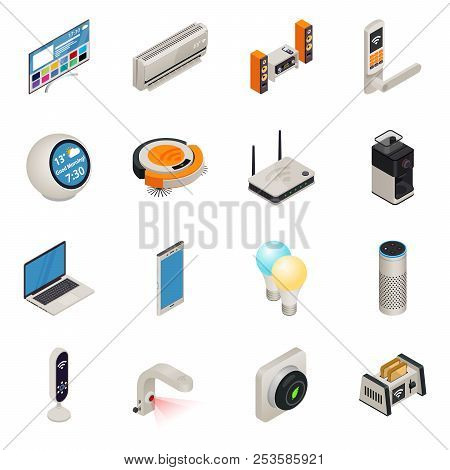 Smart Home Internet Connected Devices Isometric Colorful Icon Set. Vector Illustration