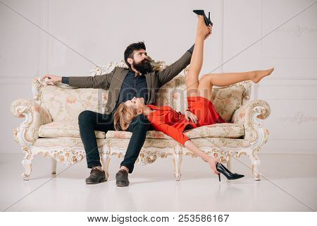 Affair At Work. Love Affair Of Bearded Man And Sexy Woman. Sweet Affair Concept. Couple In Love Has