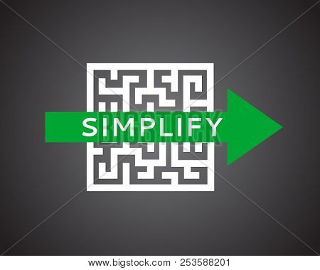 Simple Vector Concept To Show Simplify Or Cheat Maze, Overcoming Problems, Own Road Arrow In Labyrin