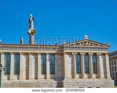 Athens, Greece - June 30, 2018. Lateral Facade Of The Academy Of Athens. Greece National Academy Wit