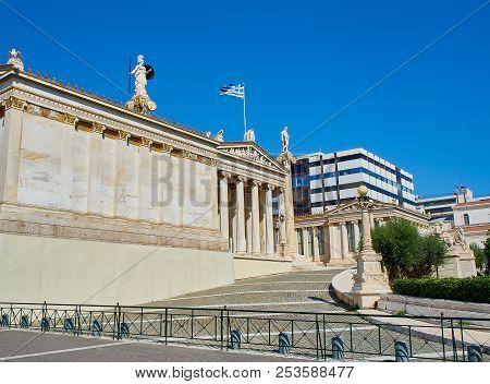 Athens, Greece - June 30, 2018. Principal Facade Of The Academy Of Athens. Greece National Academy.