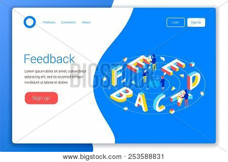 Feedback Design Concept. Feedback 3d Word Lettering Typography With Isometric People And Laptops. Fl