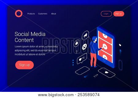 Social Media Isometric Concept. Man Watches Videos From Youtube Through A Smartphone Screen. Flat 3d