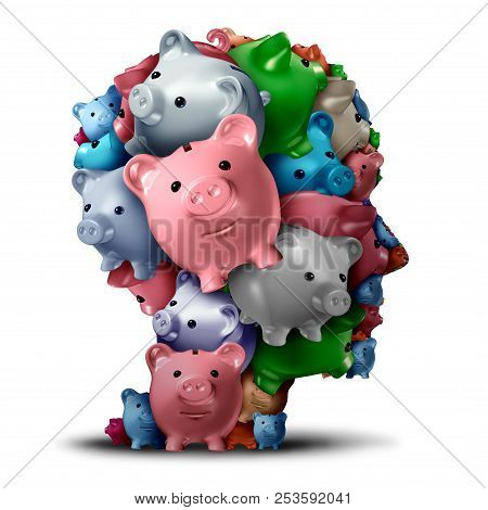 Bank Strategy And Retirement Fund Or Estate Planning Financial Symbol As A Group Of Piggy Banks Shap