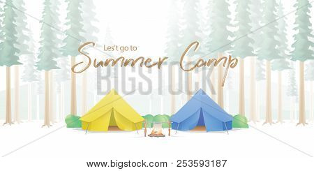 Summer Camp Poster Or Banner That The Yellow & Blue Camp Is Middle In The Forest Illustration Vector