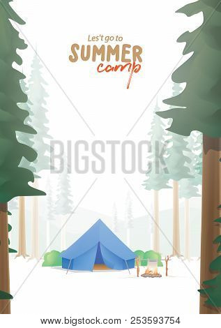 Summer Camp A4 Poster That The Blue Camp Is Middle In The Forest Illustration Vector. Camping Concep