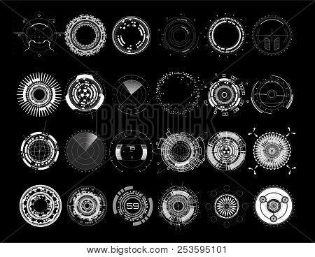 Set Circle Elements In A Futuristic (hud) Style.interface Device: Radars, Crosshair, Aim, Turbojets,