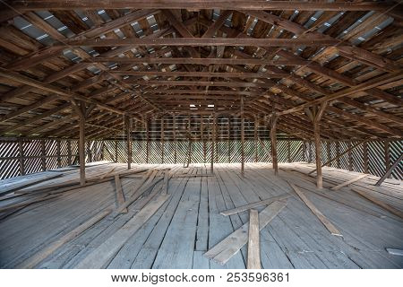 Old Wooden Barn Loft In A Historic Building In The Cataloochee Valley