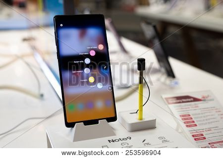 Chiang Mai, Thailand - 2018 Aug 10 : Samsung Galaxy Note 9 With New Yellow S Pen,  The New Samsung G