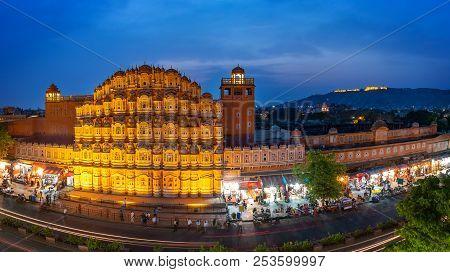 Hawa Mahal On Evening, Jaipur, Rajasthan, India. An Unesco World Heritage. Beautiful Window Architec