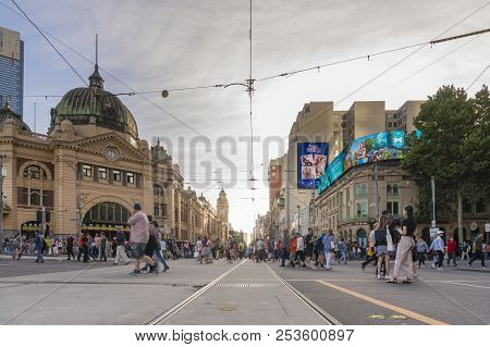 Melbourne, Australia - Feb 17, 2018: View Of Finders Street Station In Melbourne, Australia. The Sta