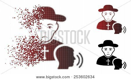Sad Believer Confession Icon In Dissolved, Dotted Halftone And Undamaged Entire Versions. Particles