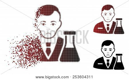 Sad Chemistry Man Icon In Sparkle, Dotted Halftone And Undamaged Entire Versions. Particles Are Arra