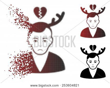 Dolor Deceived Horned Husband Icon In Dispersed, Pixelated Halftone And Undamaged Solid Variants. Pi