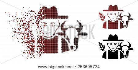 Pitiful Farmer Icon In Dispersed, Pixelated Halftone And Undamaged Solid Versions. Fragments Are Org