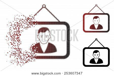 Sadly Man Portrait Icon In Sparkle, Dotted Halftone And Undamaged Entire Versions. Pieces Are Groupe