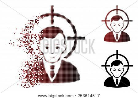 Pitiful Victim Businessman Icon In Dispersed, Dotted Halftone And Undamaged Solid Variants. Pixels A