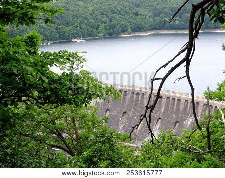 View On The Ederseestaumauer, Dam On The Edersee, Kellerwald, Hessen