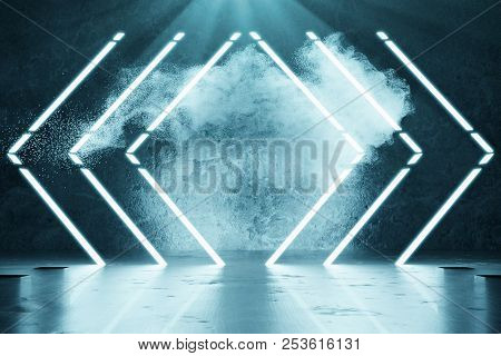 3d Rendering Of Blue Lighten Geometric Shape Lines In Front Of Grunge Wall Background And Light Beam