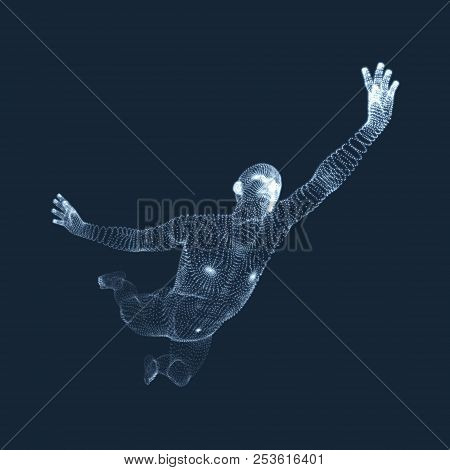 Jumping Man. Vector Graphics Composed Of Particles. 3d Model Of Man. Human Body Model. Body Scanning