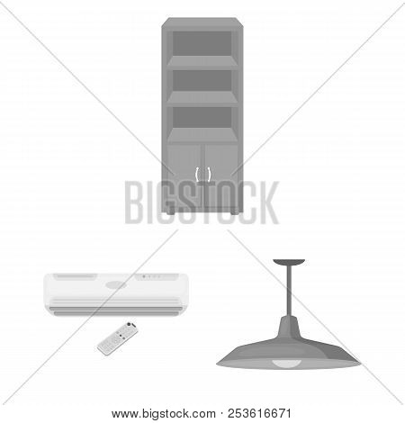 Interior Of The Workplace Monochrome Icons In Set Collection For Design. Office Furniture Vector Sym