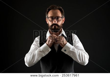 Caucasian Concept. Caucasian Man Button Shirt. Caucasian Man With Beard And Mustache. Bearded Caucas