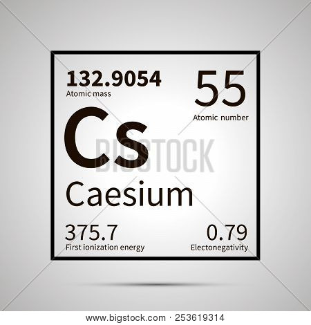 Caesium Chemical Element With First Ionization Energy, Atomic Mass And Electronegativity Values , Si