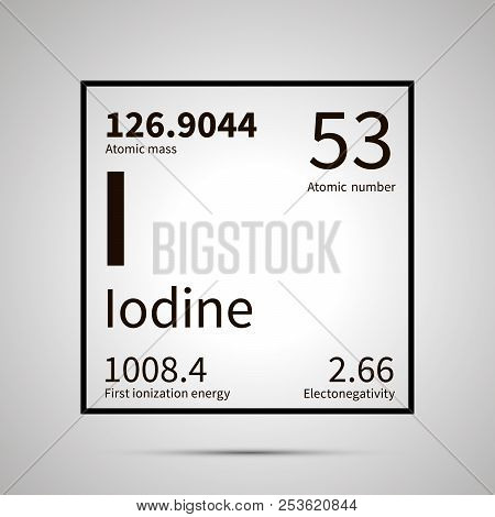 Iodine Chemical Element With First Ionization Energy, Atomic Mass And Electronegativity Values , Sim